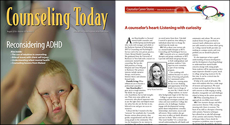 image - Amy Rosechandler featured in Counseling Today Magazine, August 2016